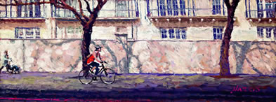 Cyclist Bayswater Road - Canvas by Rolf Harris