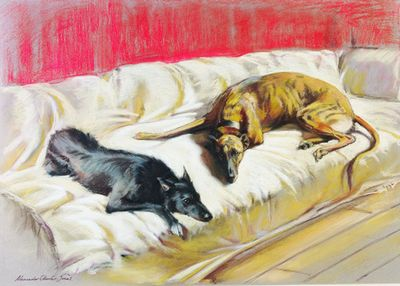 Father & Son (Lurchers) by Alexander Charles Jones