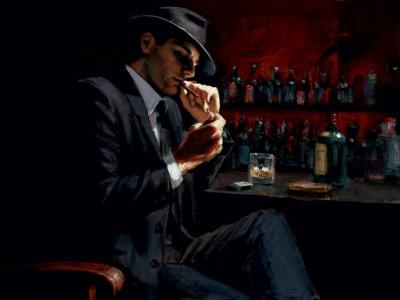 Man Lighting a Cigarette III by Fabian Perez
