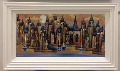 Metallic Night Harbour I (36 x 18)