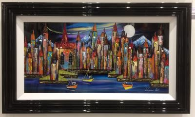 Night Harbour (36 x 18) by Rozanne Bell