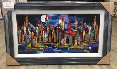 Night Harbour I 36 x 18 by Roz Bell