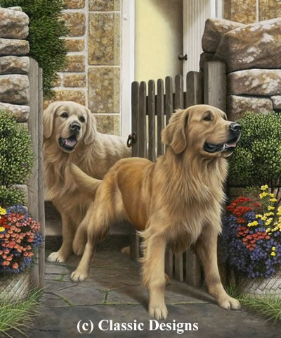 Reception Committee - Golden Retrievers by Nigel Hemming
