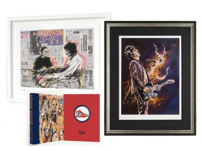 Framed Self Portrait ii with Ronnie and Charlie Framed Limited Edition Print & Book Package by Ronnie Wood