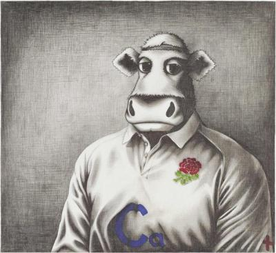 Rugby Bull Sketch Co Signed by Tom Croft