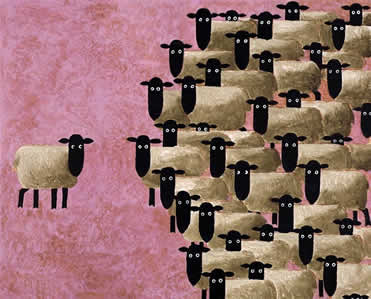 Sheep Meet by Toni Goffe