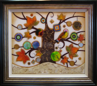Tree of Tranquility, Square II (Cream Base) by Kerry Darlington