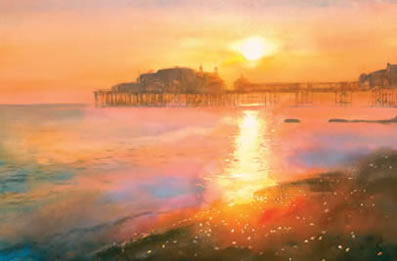 West Pier Sunset by Cecil Rice