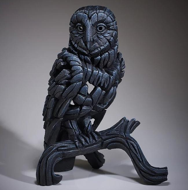 Barn Owl- Midnight Blue by Edge Sculptures by Matt Buckley