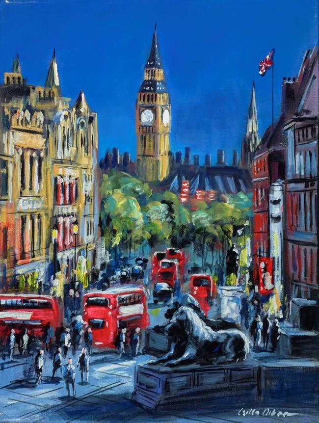 Busy Whitehall, London by Csilla Orban