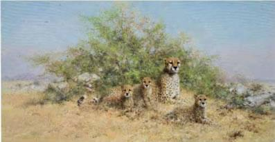 Cheetah Family - In The Serengeti by David Shepherd