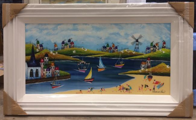 Day Beach 36 x 18 by Roz Bell