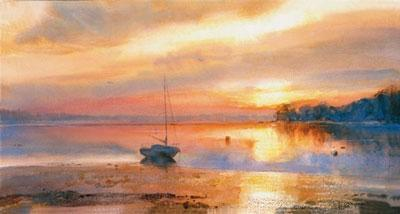 Estuary At Sunset by Cecil Rice