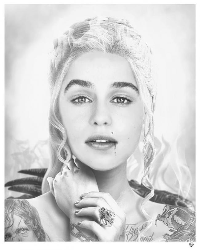 Fire & Blood - Black & White by JJ Adams