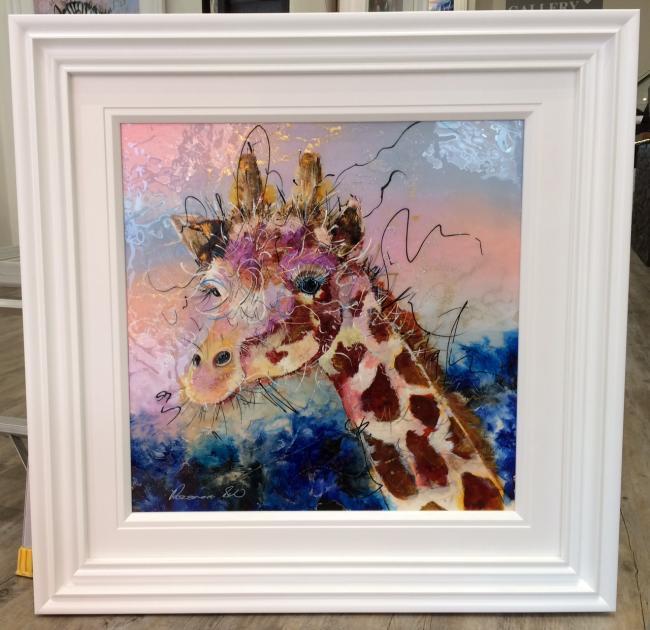 Giraffe(24 x 24) by Roz Bell