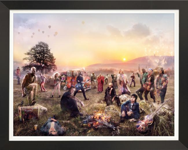 Glasto- Hand Embellished Canvas by Mark Davies