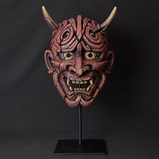 Japanese Hannya Mask - Red by Edge Sculptures by Matt Buckley