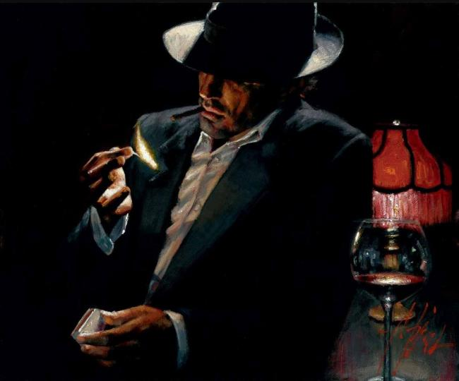 Man Lighting a Cigarette II by Fabian Perez