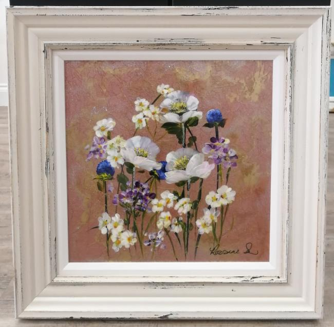 Metallic Floral I (16 x 16) by Rozanne Bell