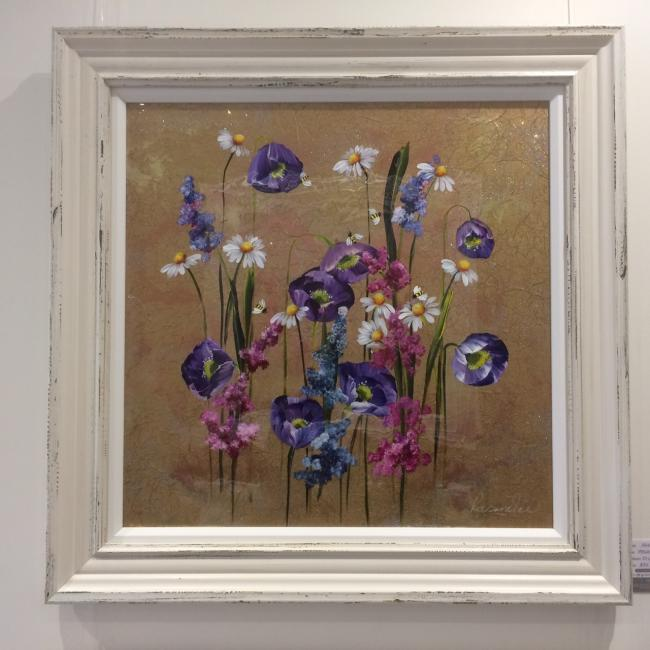 Metallic Floral I (24 x 24) by Rozanne Bell
