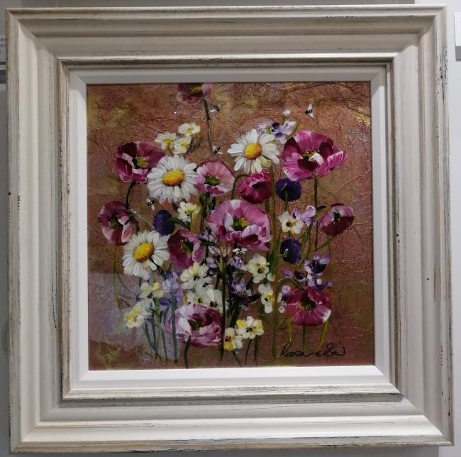 Metallic Floral II (16 x 16) by Rozanne Bell