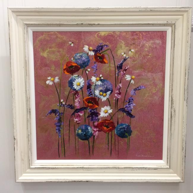 Metallic Floral II (24 x 24) by Rozanne Bell