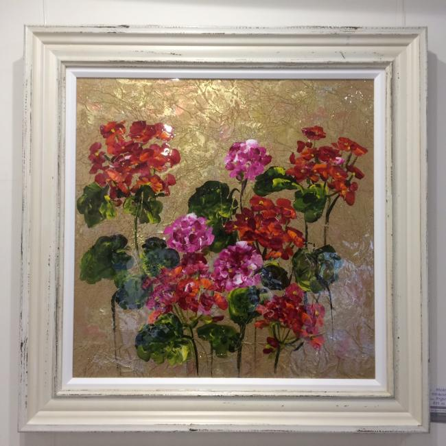 Metallic Floral III (24 x 24) by Rozanne Bell