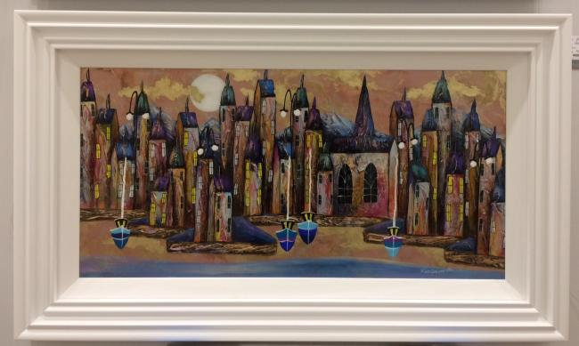 Metallic Night Harbour I (36 x 18)by Rozanne Bell