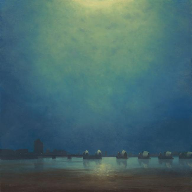 Moonlight,Thames Barrier by Lawrence Coulson