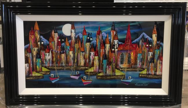 Night Harbour 36 x 18 by Roz Bell