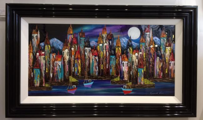 Night Harbour (36 x 18)by Rozanne Bell