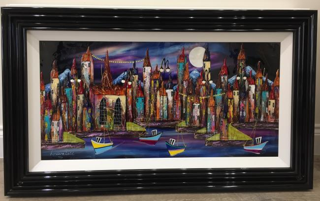 Night Harbour II 36 x 18 by Roz Bell