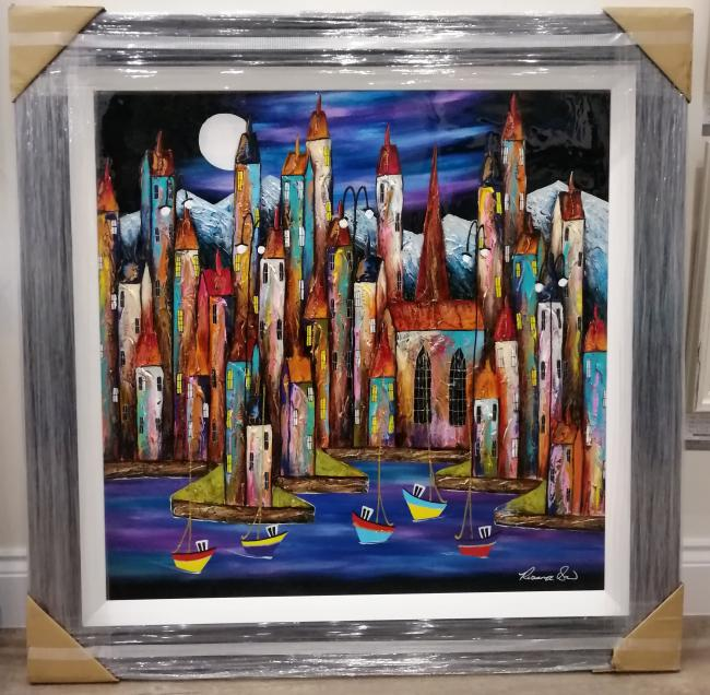 Night Harbour ii (35x35) by Rozanne Bell