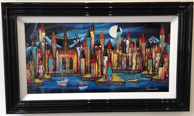 Night Harbour III (36 x 18) by Roz Bell