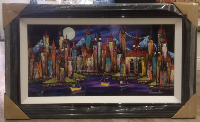 Night Harbour V (36 x 18) by Rozanne Bell