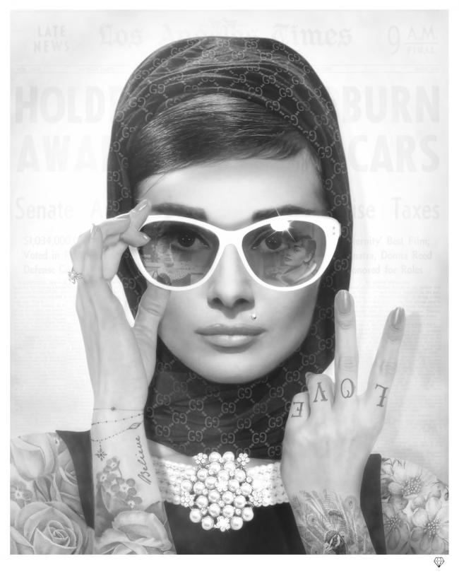 Peace, Love and Audrey- Black & White