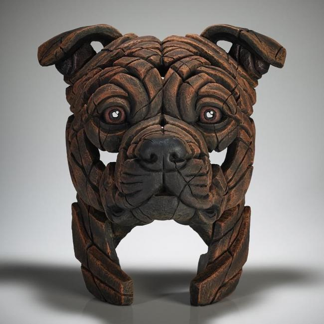 Staffordshire Bull Terrier Bust - Brindle by Edge Sculptures by Matt Buckley