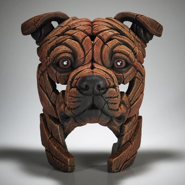 Staffordshire Bull Terrier Bust - Red by Edge Sculptures by Matt Buckley