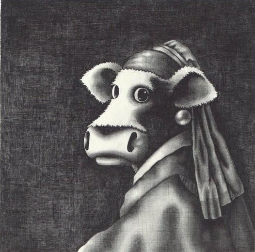 Study Of The Cow With The Pearl Earring by Caroline Shotton