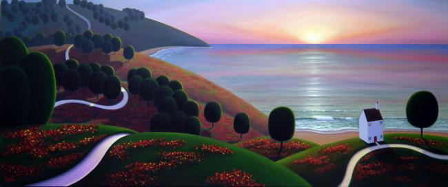 Sun Setting Over The Flower Meadows (Original to 2015 Limited Edition Release) by Paul Corfield