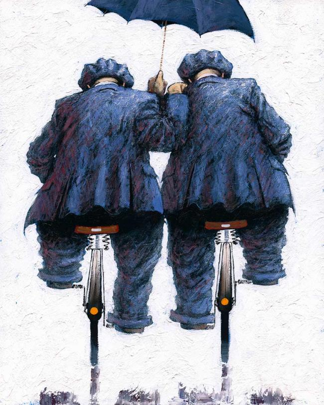 Under My Umbrella Large Canvas by Alexander Millar