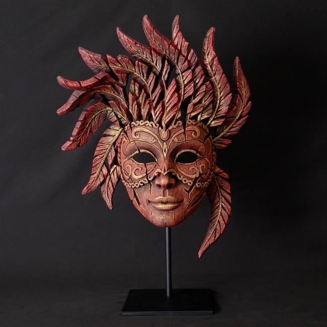 Venetian Carnival Mask - Red & Gold by Edge Sculptures by Matt Buckley