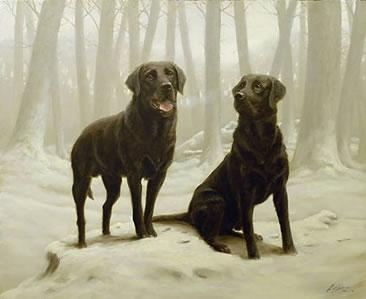 Winter Friends II - Black Labs by John Silver