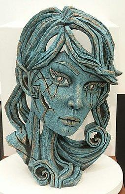 Wood Elf Bust - Aqua by Edge Sculptures by Matt Buckley
