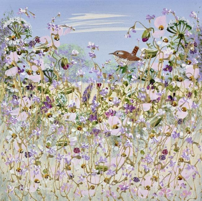 Wren Among The Flowers IV by Mary Shaw