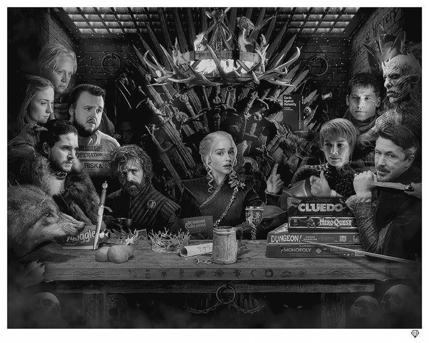 Board - Game of Thrones - Black & White by JJ Adams