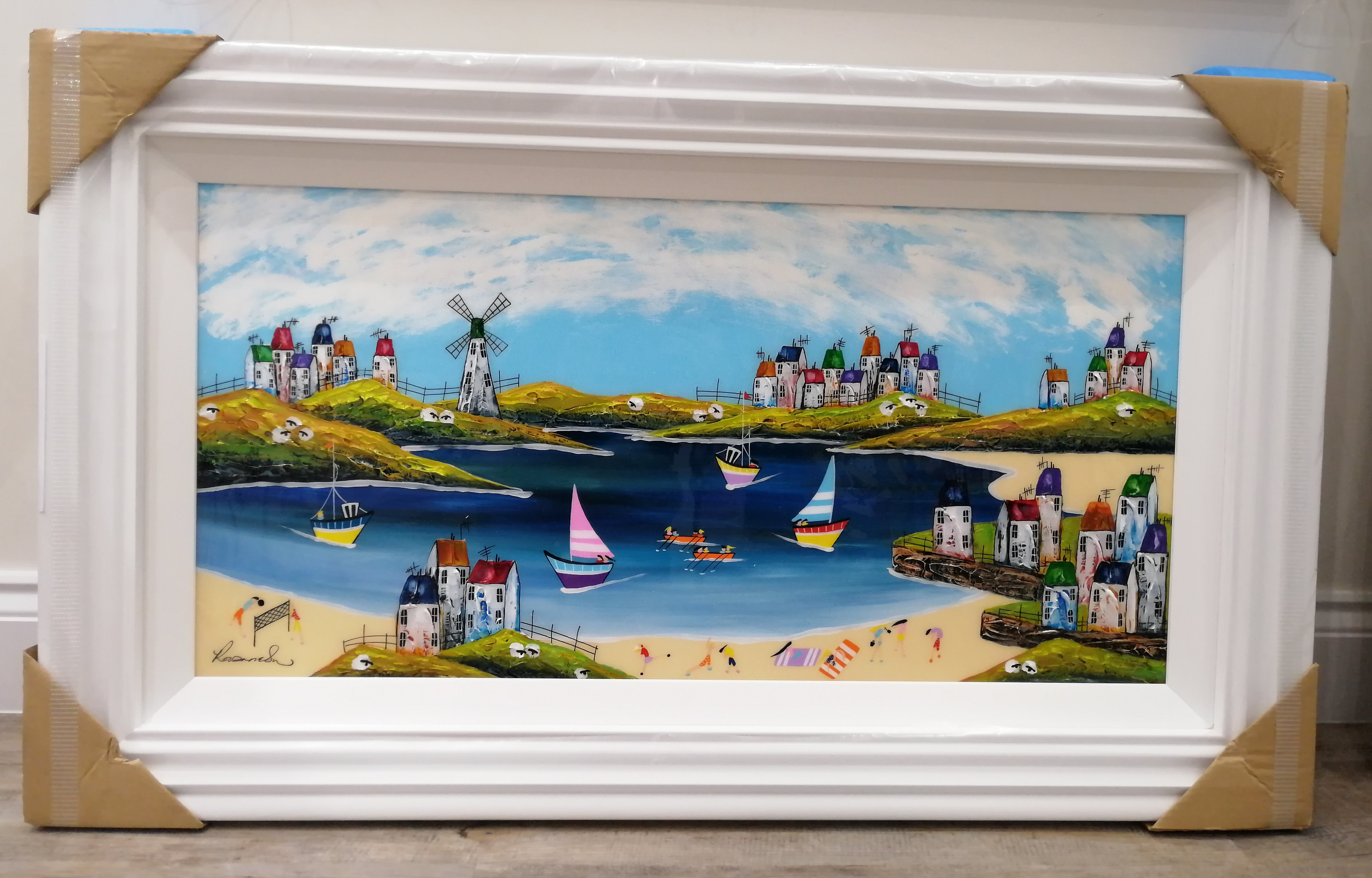 Day At The Beach (18x36) by Rozanne Bell