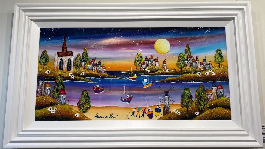 Evening Beach (36 x 18) by Rozanne Bell