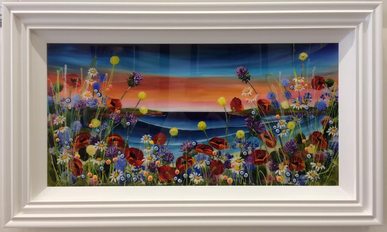 Floral Beach 36 x 18 by Roz Bell