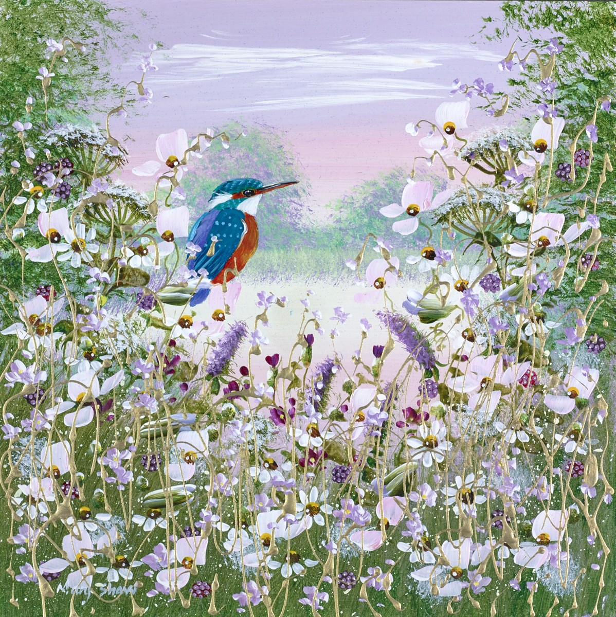 Kingfisher Perched ii by Mary Shaw